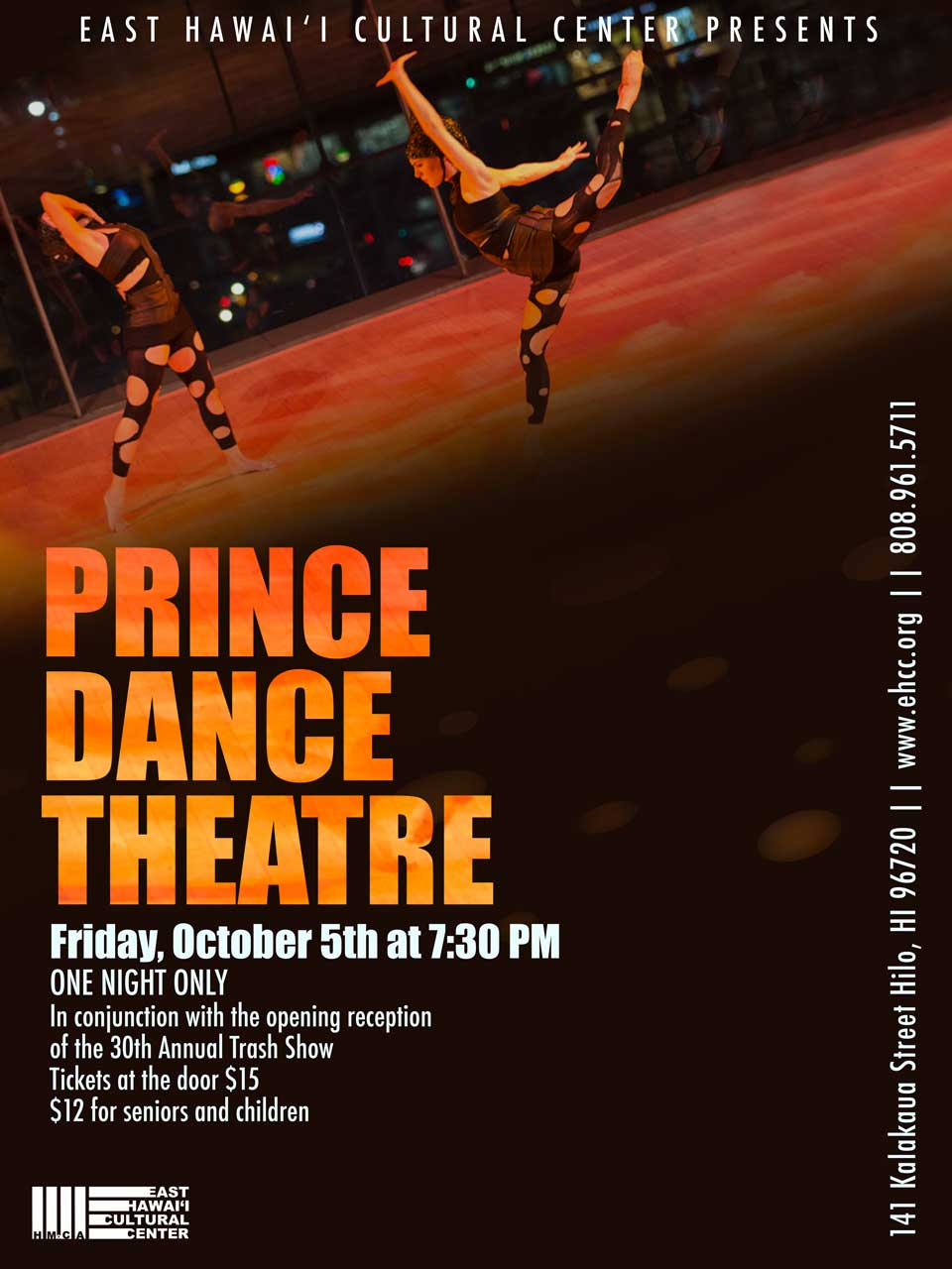 "Web poster for Prince Dance Theatre Performance of ""My Empty Body is Full of Stars"" at the East Hawai'i Cultural Center in Hilo on Friday, October 5 at 7:30pm."